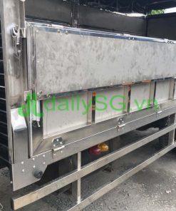 Mở bửng hông thùng xe tải 8 tấn thùng mui bạt Inox chở gạch