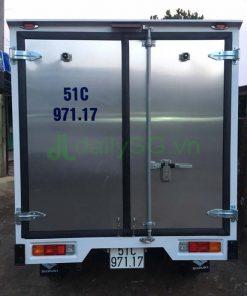Góc nhìn phía sau thùng xe tải Suzuki Carry Pro thùng kín Inox 750kg